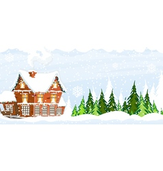 Snow covered Farmhouse vector image vector image