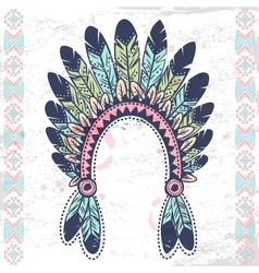 Tribal native American fetaher headband vector image vector image