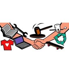auction items handshake deal swap exchange vector image vector image