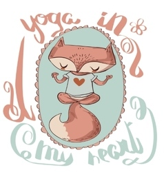 Cute fox enjoys the yoga vector image vector image