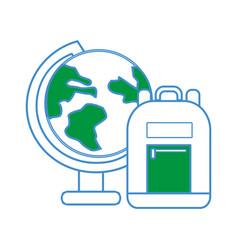 earth plenet desk with study bag vector image