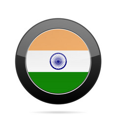 flag of india shiny black round button vector image
