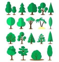 Flat tree set isolated on white background vector image vector image