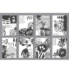 Set of eight cards with hand drawn abstract ink vector