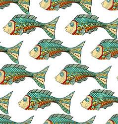 Zentangle fish background vector