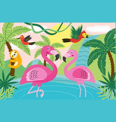 animals in tropical nature vector image vector image