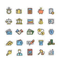 banking and accounting icon color thin line set vector image
