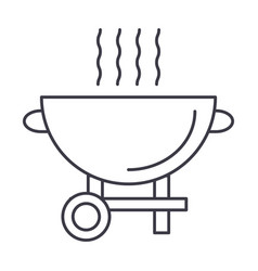 barbecue grill line icon sign vector image vector image
