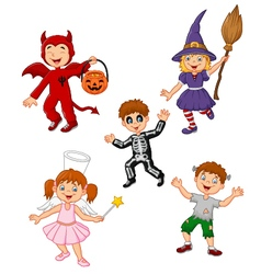Cartoon kids wearing Halloween costume collection vector image vector image
