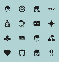 set of 16 editable game icons includes symbols vector image vector image