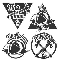 Vintage fireman emblems vector image vector image