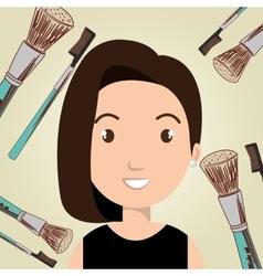 woman make up brush vector image vector image