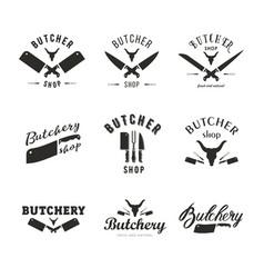 big set of butchery logo templates butchery vector image