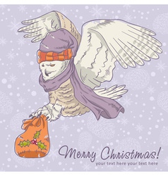 Cute winter Christmas card of an owl in a hat vector image vector image