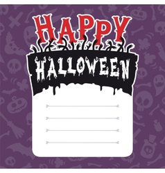 Happy Halloween Card with Text Box vector image vector image