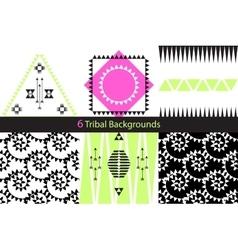 Set of six ethnic tribal backgrounds vector image