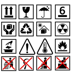 warning of packaging symbol vector image