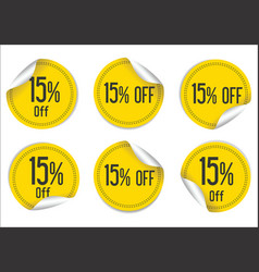 15 percent off yellow paper sale stickers vector image