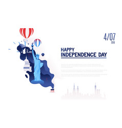 4th of july independence day of usahot air vector image