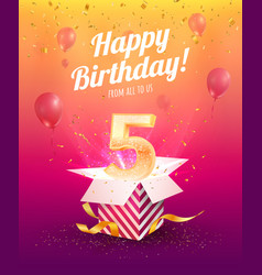 5 years anniversary banner template five vector