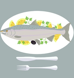 A of grill prepared fish with lemon and parsley vector