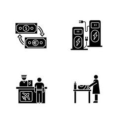 airport terminal black glyph icons set on white vector image