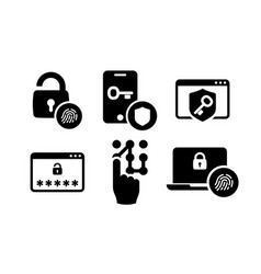 Authentication icons set 01 in black and white vector