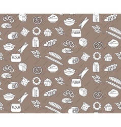 Bakery seamless pattern Line outline doodle vector image