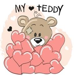 Bear in hearts vector