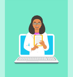 Black woman doctor online consultation concept vector