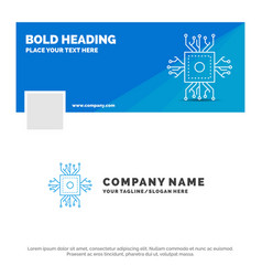 Blue business logo template for chip cpu vector