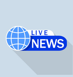 blue live global news logo flat style vector image