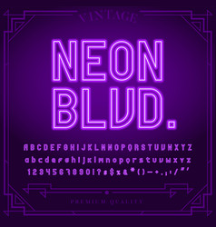 Bright neon alphabet letters numbers and symbols vector