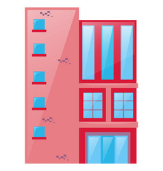 building painted pink and red vector image