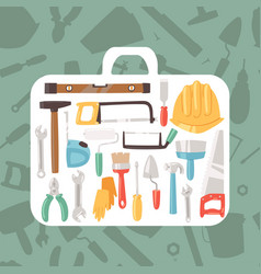 building tools in case banner vector image
