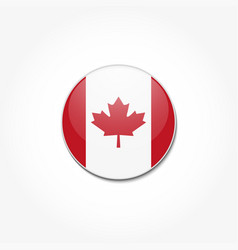 canadian flag in a circle on gray background vector image
