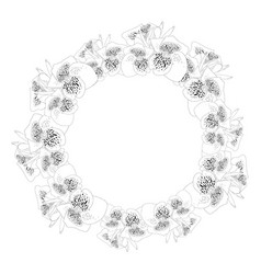canna lily outline wreath vector image