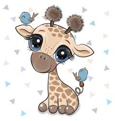 Cartoon giraffe with two birds vector