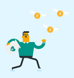 caucasian white businessman trying to catch coins vector image
