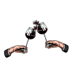 Cheers toast and clink glasses wine in hand vector