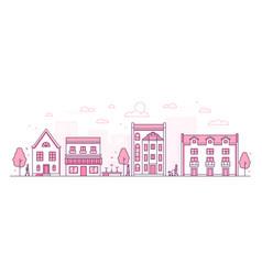 city street - modern thin line design style vector image