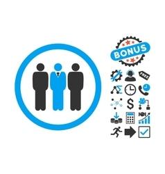Clerk Staff Flat Icon with Bonus vector image