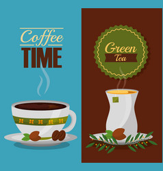 coffee and tea time cups and leaves design vector image