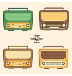 Colorful Retro Radio Set Flat Design vector image