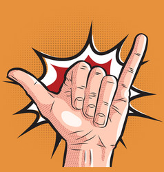 comic hand showing shaka sign pop art surf vector image