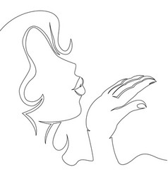 Continuous one line woman blowing a kiss vector