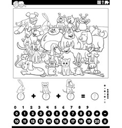 Counting and adding game with animals coloring vector
