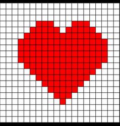 Cross-stitch heart pattern mosaic red heart vector