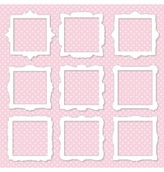 Cute square photo frame set on polka dot vector image