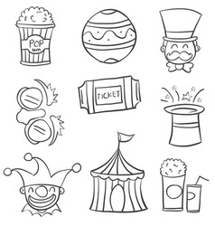 Doodle circus with ball tent hat vector